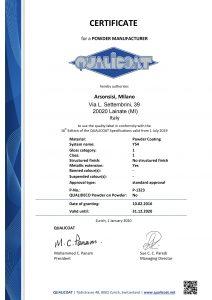 Toz kaplama Qualicoat sertifikaları - Y54 Polyesterler serisi
